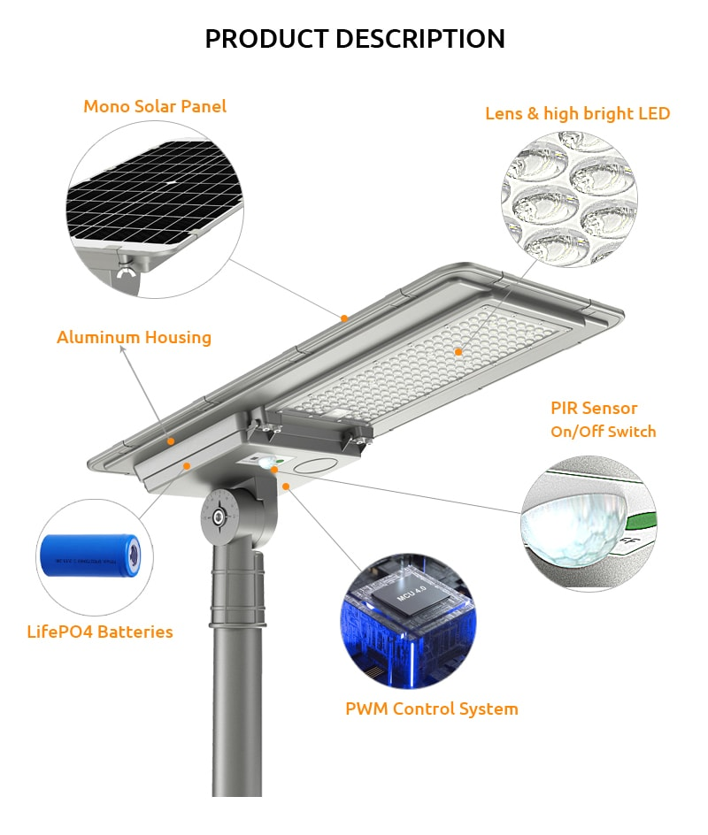 main components of solar street lights