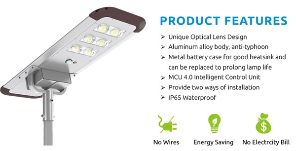 60w solar street light Product Features