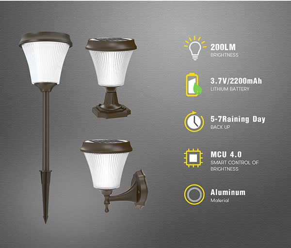 Dove Series Solar Fence Post Lights, Outdoor Cast Aluminum Post Cap Lights for Fence Deck, Pathway or Patio