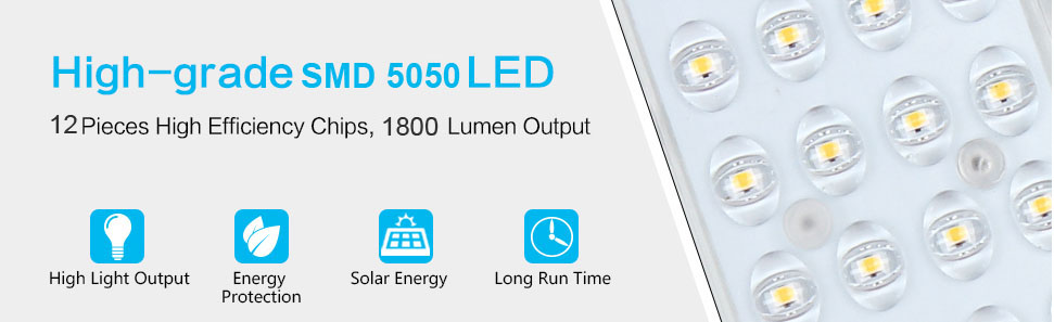 Solar LED Street Light with 12pcs high efficient led chips & 1800 lumen output