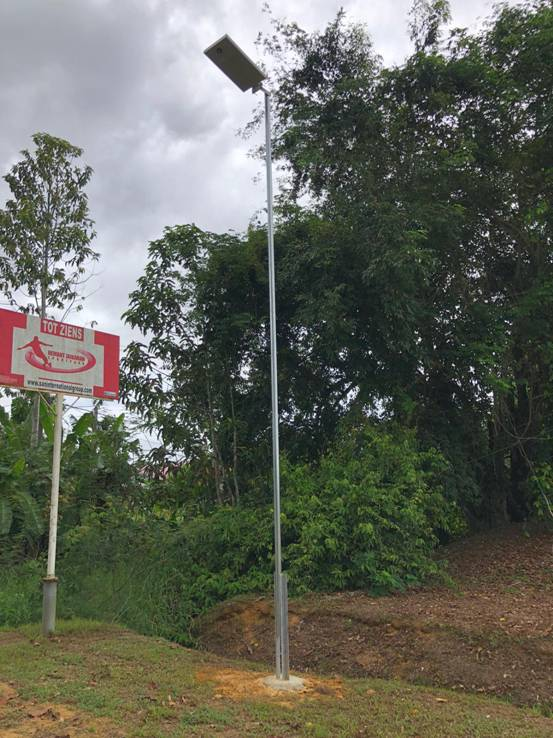 All in one LED solar street light project in Suriname