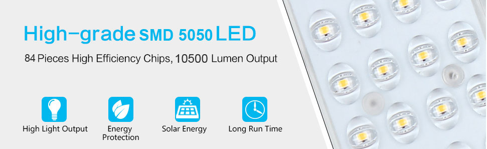 All in One Solar Street Lighting with 84pcs high efficient led chips & 10500 lumen output