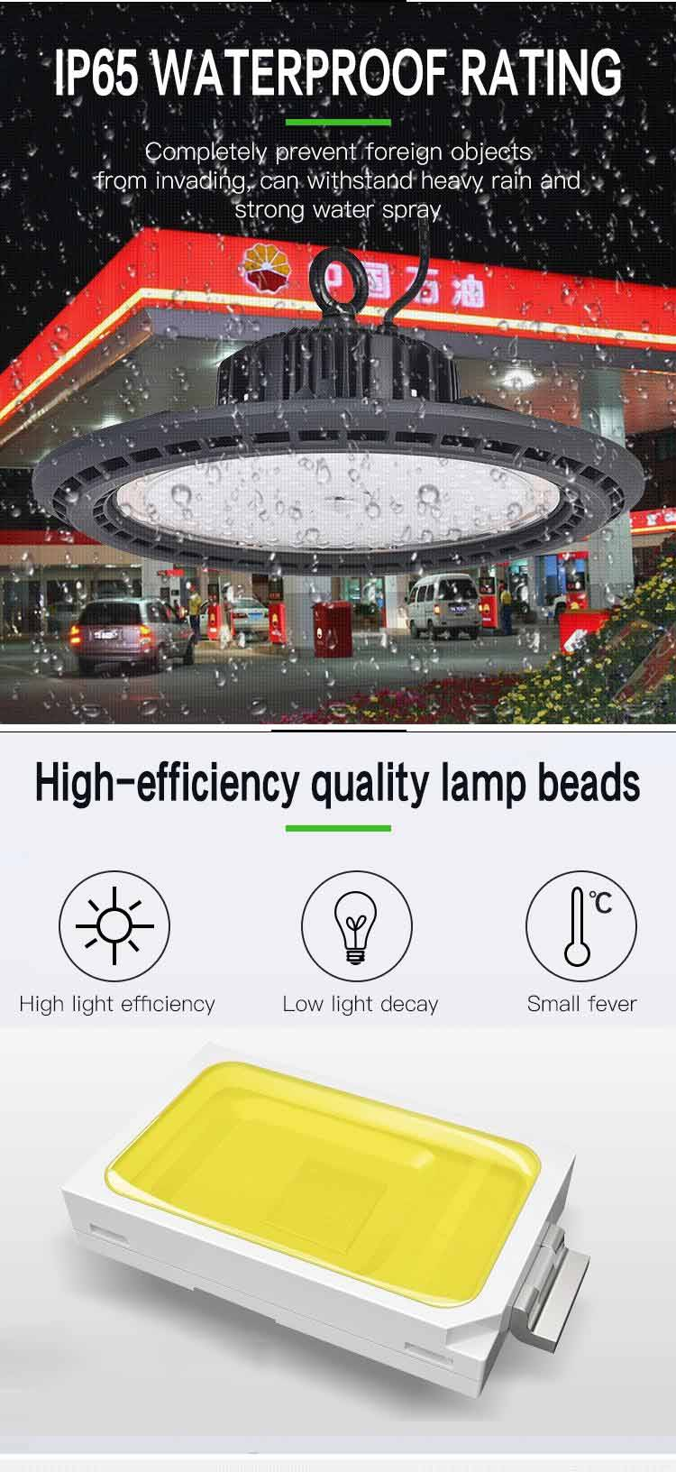 IP65 waterproof rating for 200W Anti-Glare Industrial High Bay Lights