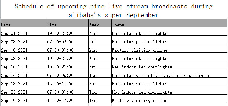 Schedule of upcoming nine live stream broadcasts during alibabas super September